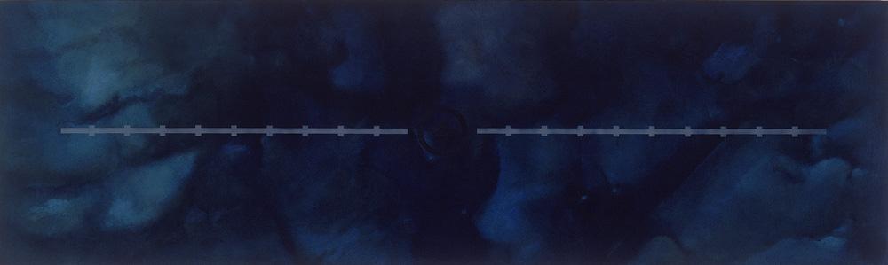 Thingvellir 1995 Olía, lakk, sandblástur og silkiþrykk á ál. Oils, varnish, sandblasting and screen on aluminium 90 x 250 cm.