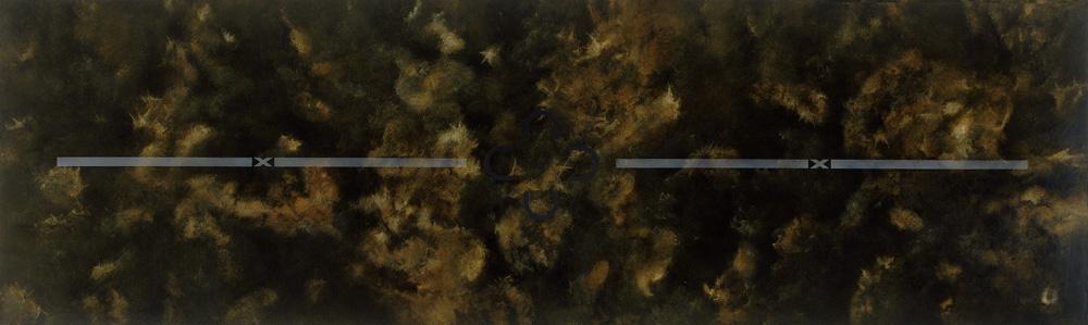 Description 1995 Olía, lakk, sandblástur og silkiþrykk á ál. Oils, varnish, sandblasting and screen on aluminium 90 x250 cm.