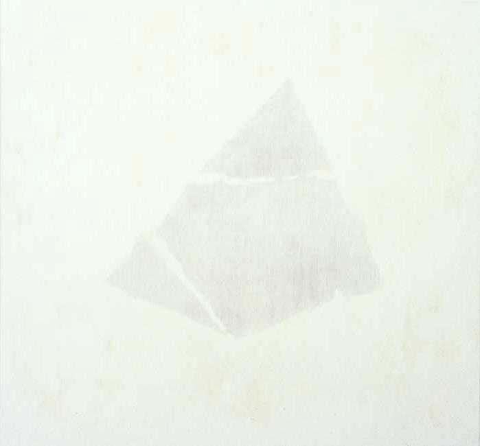 Form úr verki 1999. Sandblástur og olía á striga. 160x170 cm.