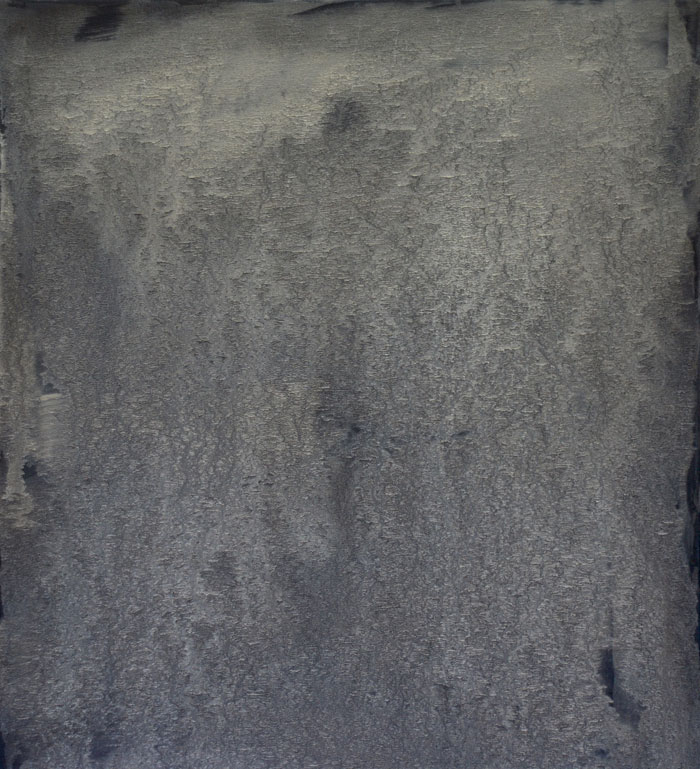 Án titils | Untitled 2015. Mineral powder from the lava Ódáðahraun, Heligenblau, Ivory Black, Zinc White and oil on canvas, 105 x 95 cm.