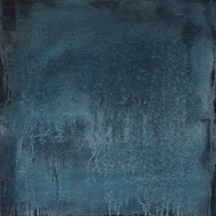 Án titils | Untitled 2015. Mineral powder from the lava Orustuhólahrun, Paris blue, Ivory Black, Zinc White and oil on canvas, 60 x 60 cm.